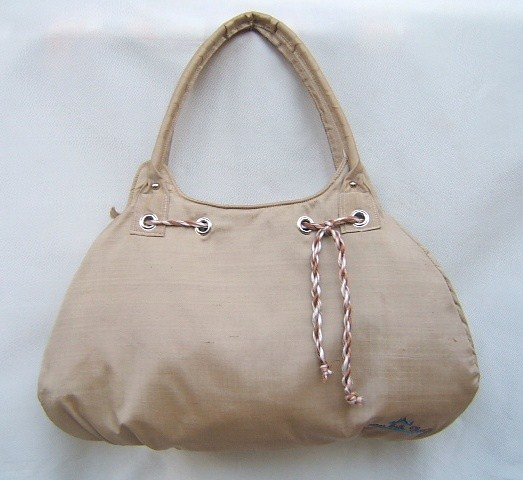 Buy Deep Champagne Silk Handbags