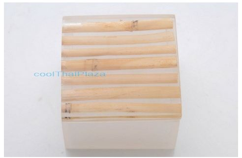Box resin handmade - large - bamboo