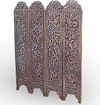 Buy Teak Carved Screen with Birds