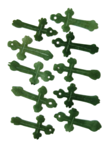 Handcrafted 2 sided jade cross pendants