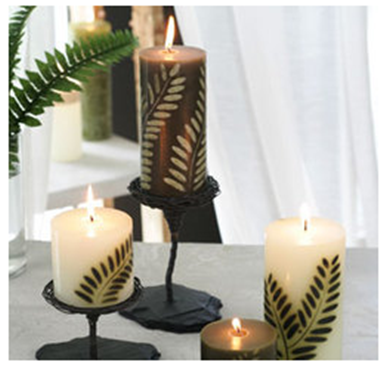 Hand Carved Fern Candle