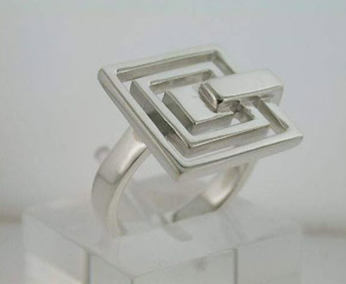 Buy Geometrical silver ring
