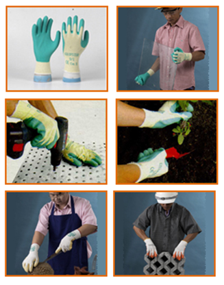 Latex Coated Gloves: Anti-cut, shear, and Tiemtm, friction.