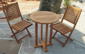 Buy Teak 2 person outdoor seat and table set