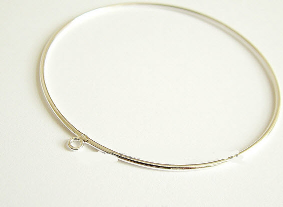 Buy Sterling silver bangle with 1 loop