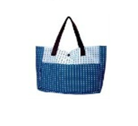 Buy Handmade Emeral Blue Cotton mixed Fabric Bag