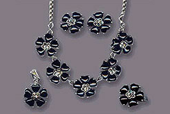 Buy Black Flower Sterling silver jewelry necklace