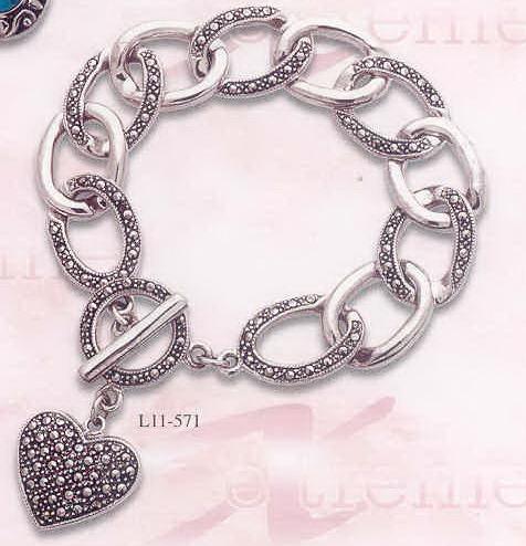 Buy Silver heart bangle