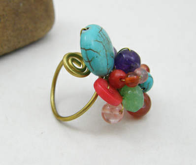Buy Wire Wrapped Ring with Mixed Natural Stones