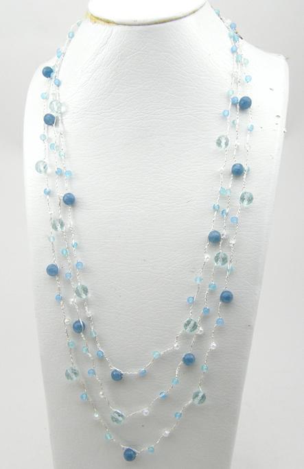 Buy 3 Strands Knit Necklace with Blue Quartz