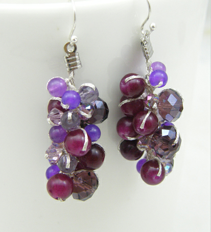 Buy Purple Earring with Jade and Crystal