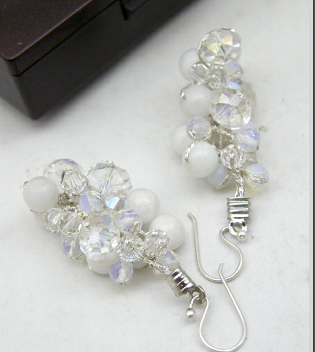 Buy White Earring with Jade and Crystal