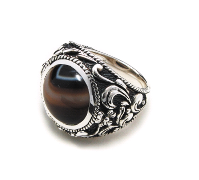 Buy 925 Sterling Silver ring set with Botswana Agate