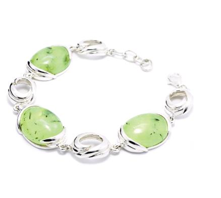 Buy 925 Sterling Silver Bracelet set with Prehnite