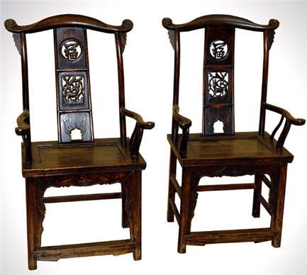 Beautiful Antique Chinese Yoke Back Chairs (Pair)
