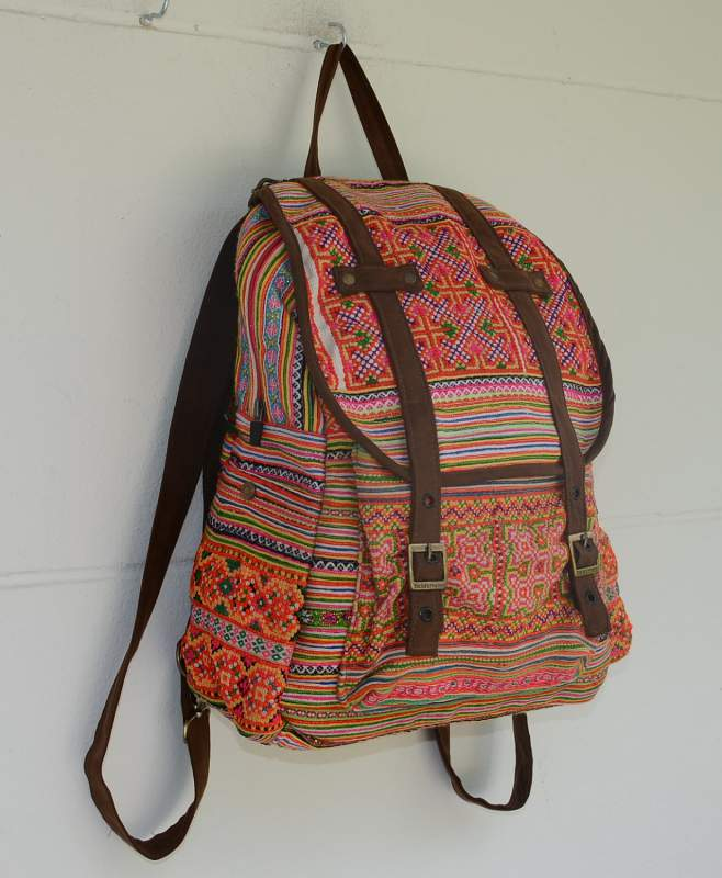 Buy Vintage Backpack HMONG Hill Tribe Suede Book Bag
