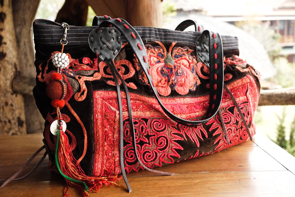 Buy Leather Vintage Bag - Hand Embroidered HMONG Hill Tribe Bag - Baby Carrier