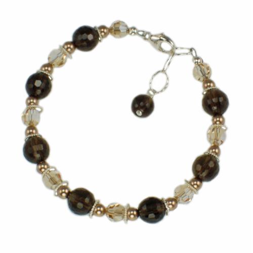 Buy Jewelry set with smoky quartz handmade bracelet