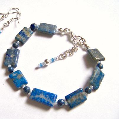Buy Jewelry set with Lapis lazuli handmade bracelet