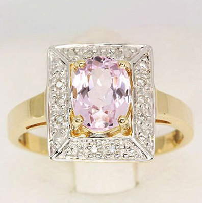 Pink Kunzite & Diamond Ring