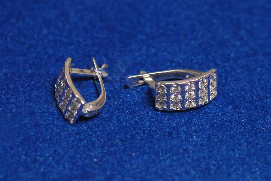 Buy Silver earrings with zirconium