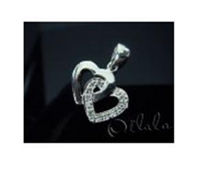 Buy Heart pendant silver cross embedded gem