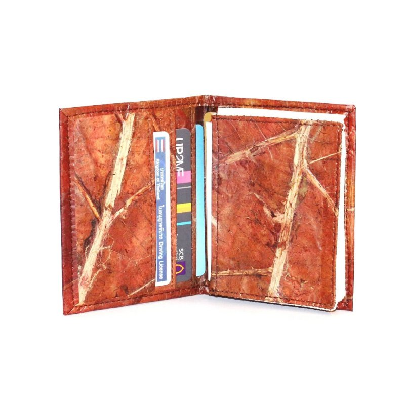 Buy MEN CARD WALLET RED TEAK LEAF BUSINESS CARD FOLDER BILLFOLD COIN PURSE WALLET POCKET WATERPROOF DURABLE
