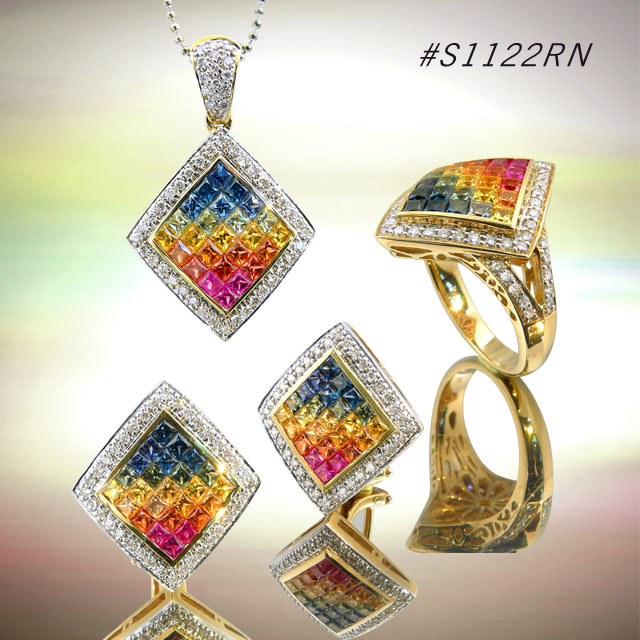Buy Rainbow Sapphire Jewelry Set ( code: S1122RN)