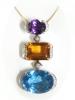 Buy Yellow Gold 18k Diamond Big Multicolor Gemstone Pendant