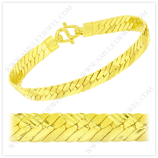 Buy B-0002-1BAHT Real 23k Baht Gold Matte Diamond Cut Flexible Herringbone Chain Link Bracelet