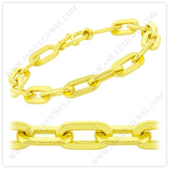 Buy B-0001-1BAHT Real 23k Baht Gold Polished Long Flat Oval Link Chain Bracelet