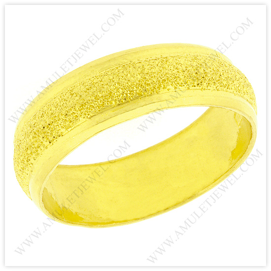 Buy R-0002-1BAHT Real 23k Baht Gold Dazzle Domed Wedding Band Ring with Polished Edges