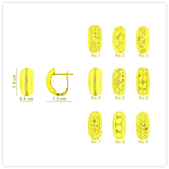 Buy E-0026 Real 18k Gold Dazzle Texture Hinged Huggie Earrings with Polished Edges