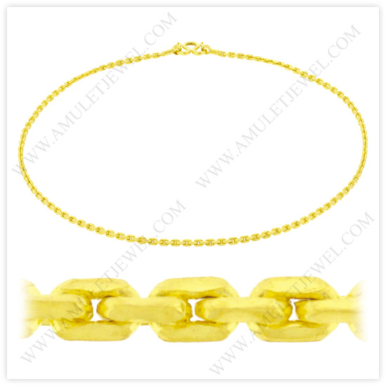 Buy NM-0003-2BAHT Real 23k Baht Gold Polished Anchor Chain Link Necklace