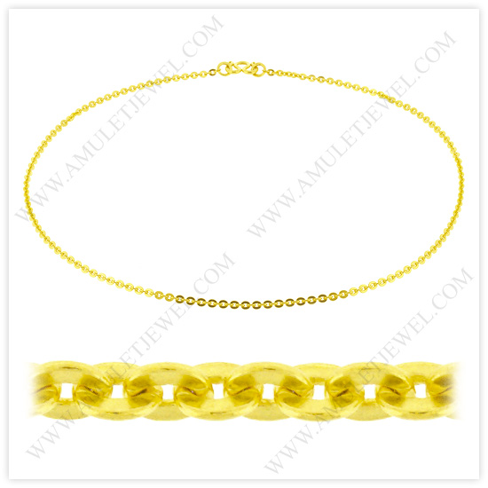 Buy NM-0002-5BAHT Real 23k Baht Gold Polished Short Flat Oval Link Chain Necklace
