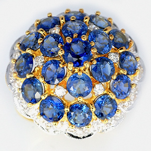 Buy Blue sapphire diamond yellow gold ring