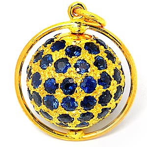 Buy Gold pendent with blue sapphire