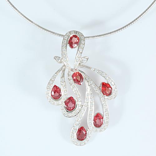 Buy Silver pendant with Orange-Sapphire P0013