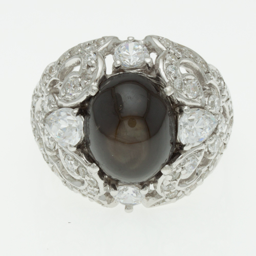 Buy Silver Ring With black star sapphire R051