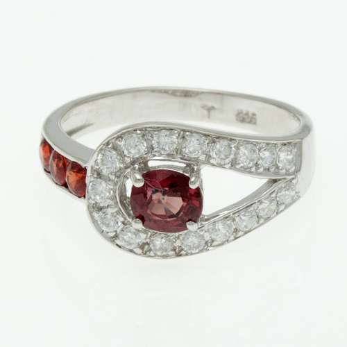 Buy Silver ring with orange sapphire R0248