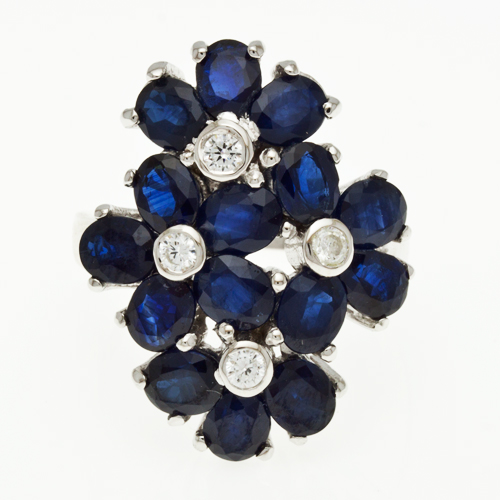 Buy Silver ring with blue sapphire R0235