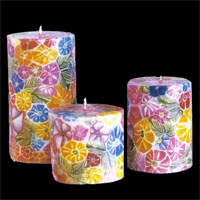 Buy Benjawan Round Pillar Candle – Colorful Floral Pattern