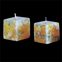 Buy Benjawan Cube Shaped Candle – Yellow and Gold Floral Pattern