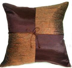 Thai Silk Pillow Cases - Brown with Checker