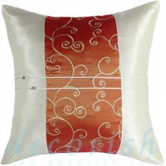 Silk Decorative Pillow Cases Orange Embroidered
