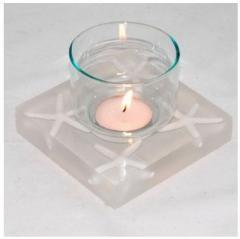 Candle holder resin handmade - sea white