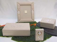 Mother of Pearl  Leather Set
