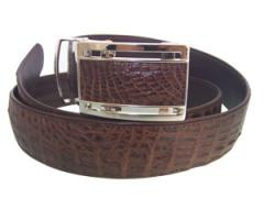 Big Chocolate Color Crocodile Skin Belt
