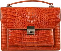 Genuine Alligator Leather Briefcase 8829 Tan