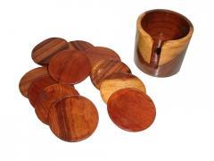 Wood Glass Plate Set